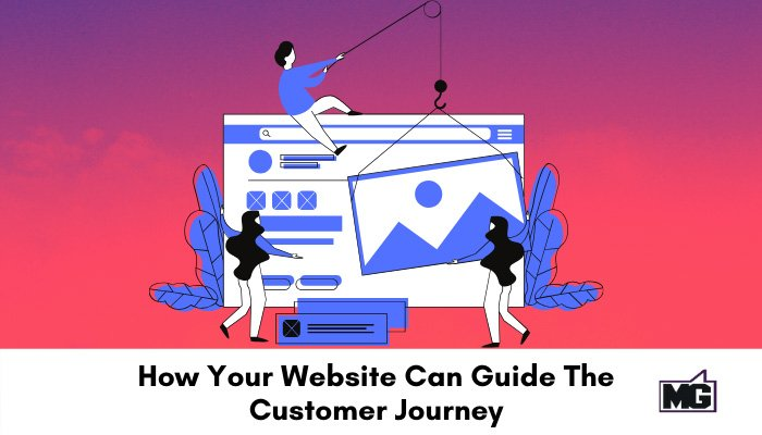 Illustration of building website for maximum customer journey.