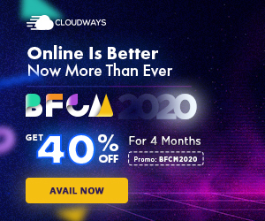Cloudways Promo code: BFCM2020 Offer: 40% OFF for 4 months (Promo will be applied on first 4 invoices) Validity: From 26rd November till 2 December