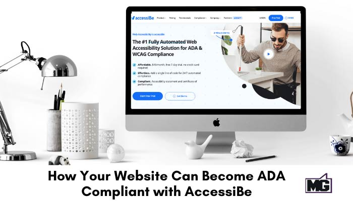 Desk top with a computer showing an A website on a ADA compliant website with AccessiBe.