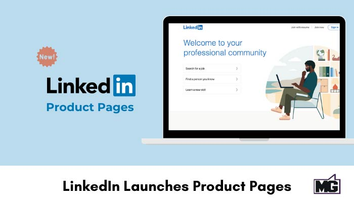 Illustration of a laptop showing LinkedIn product pages.