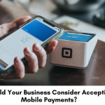 Making mobile payments at a small business.